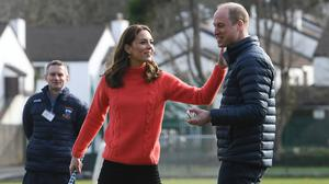 The Duke and Duchess of Cambridge try their hand at hurling in Galway (Facundo Arrizabalaga/PA)