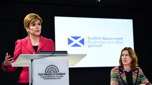 Scotland's First Minister Nicola Sturgeon, left, with chief medical officer Dr Catherine Calderwood at a news conference in Edinburgh (Jeff J Mitchell/PA)