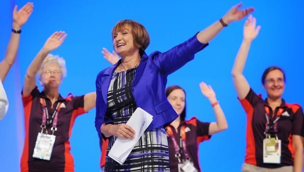 Tessa Jowell with Olympic Gamesmakers at a rally to honour Team GB athletes in October 2012 (Stefan Rousseau/PA)