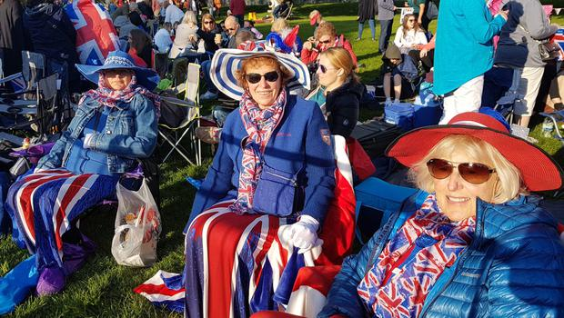 Royal fans from Cornwall (left to right) Samantha Burdon, Sarah Hawkins and Annabelle Bennetts on the Long Walk in Windsor (Tess de la Mare/PA)
