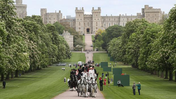 Horse and carriages taking part in the Coaching Marathon on the Long Walk (Yui Mok/PA)
