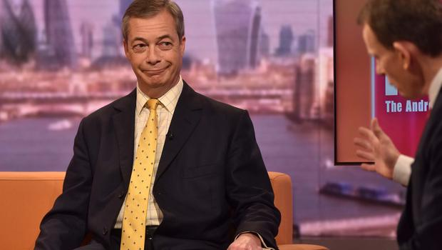 Nigel Farage, appearing on The Andrew Marr Show (Jeff Overs/BBC/PA)