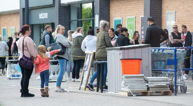 There were also large queues outside The Range, a home and gardenware chain, in Leicester (Joe Giddens/PA)