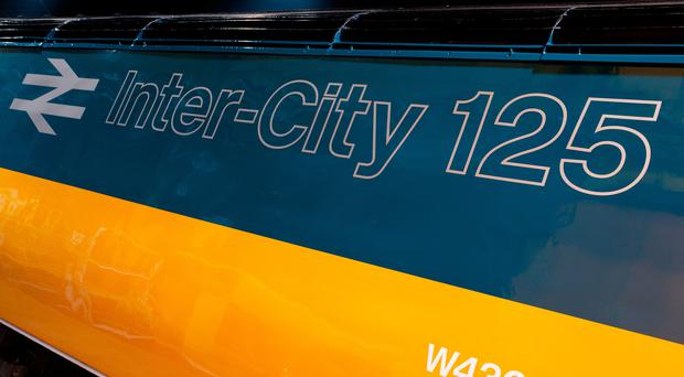 An InterCity 125 High-Speed Train repainted in British Rail colours (LNER/PA)