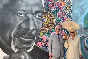 The royal couple were shown a mural of the late UN Secretary General Kofi Annan (Joe Giddens/PA)