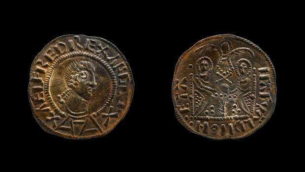 The image of Alfred the Great, appearing on a rare Two Emperors penny, found among the hoard. (British Museum/PA)