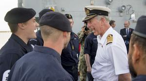 The Prince of Wales on HMS Middleton as he visited the Mina Salman Naval Base during his Middle East trip