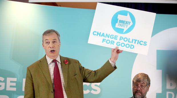 Brexit Party leader Nigel Farage addresses supporters at the Washington Central Hotel in Workington (Danny Lawson/PA)