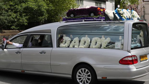 The funeral cortege of burglar Henry Vincent, who was stabbed by a pensioner after breaking in to his home leaves St Mary's Church in St Mary Cray (Gareth Fuller/PA)