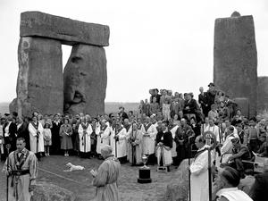 Members of the Haemus Lodge (Brighton and Worthing District of Sussex) during their mid-summer ceremony at Stonehenge in 1949 (PA)