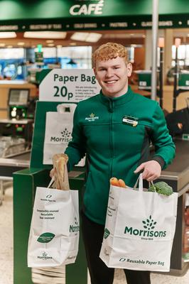 Morrisons stores in Wales will be the first to offer paper carrier bags next week (Morrisons/PA)