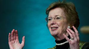 Mary Robinson said developed nations should cut their consumption levels to help the fight against global warming