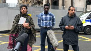 Robina Qureshi (l to r), Andrew (no last name given) and Mohammad Asif (Douglas Barrie/PA)