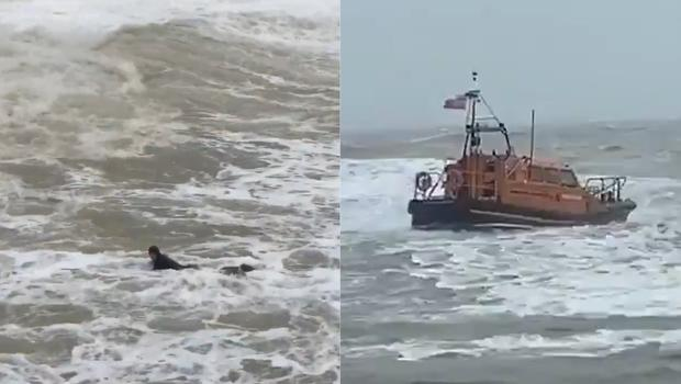Coastguard rescue services in Hastings braved the stormy waters after a surfer was washed out to sea during Storm Ciara (Richard Connolly/Gillian Beaton)