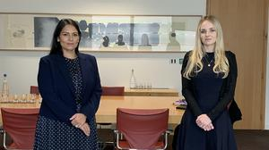 Home Secretary Priti Patel with Lissie Harper, the widow of Pc Andrew Harper (Martis Media/PA)