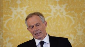 Tony Blair at his press conference at Admiralty House, London, where he  responded to the Chilcot report