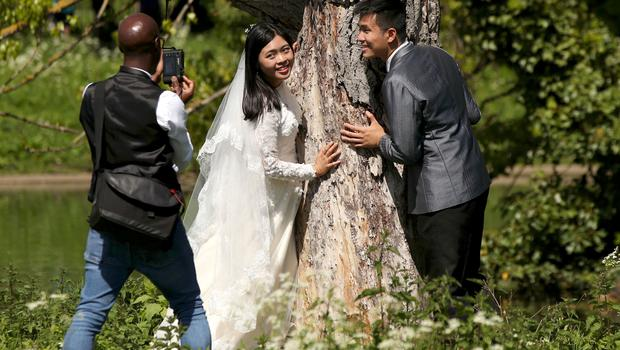 It was the perfect day for one newly-wed couple to have their photos (Yui Mok/PA)