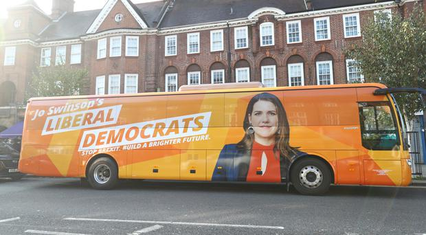 The Liberal Democrat battle bus in Golders Green (Aaron Chown/PA)