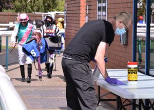 A saddle table is cleaned at Leicester racecourse (Tony Knapton/PA)