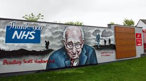 A mural that has been created to pay tribute to NHS fundraiser Captain Tom Moore (Jacob King/PA)