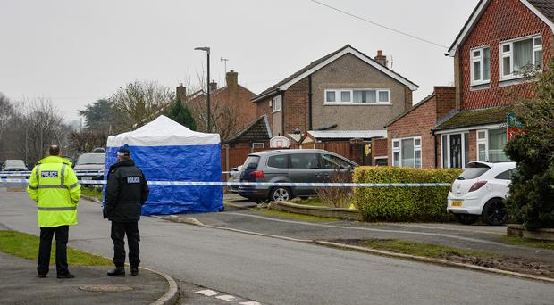 Police at the scene in Duffield, Derbyshire (Jacob King/PA)