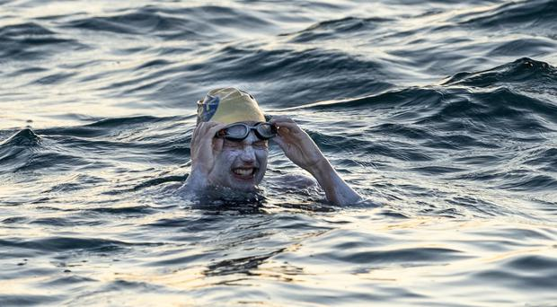 Sarah Thomas has become the first person to swim across the English Channel four times in a row (Jon Washer/PA)