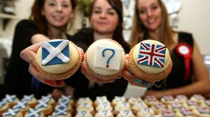 (Left to right) Hannah Vigers, Kim Simmonds and Lauren Blowes from Edinburgh bakery, Cuckoos, at the launch of their own referendum opinion poll survey, where you can buy your Yes, No or Undecided cupcake and the weekly results will be published to the media on the bakerys Facebook and Twitter.