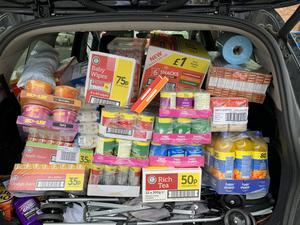 Some of the groceries Mr Vine has purchased to produce food parcels for the elderly and vulnerable (Handout/PA)
