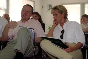 Diana listens to a briefing on the work of the British Red Cross in Angola on a trip in 1997 ( John Stillwell/PA)