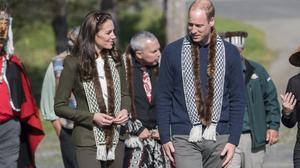 During the welcoming ceremony, the Cambridges were presented with sea otter trimmed scarves