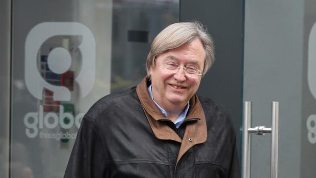 David Mellor leaves Global Radio in Leicester Square, London, after presenting his LBC Saturday morning show