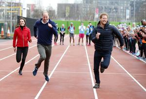Kate, William and Prince Harry raced on the track at the Queen Elizabeth Olympic Park in east London in 2017 (Alastair Grant/PA)