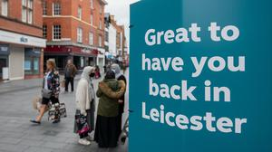 Signs in the centre of Leicester welcoming people back as the city may be the first UK location to be subjected to a local lockdown after a spike in coronavirus cases (Joe Giddens/PA)