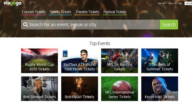 Screengrab from the home page of Viagogo. (PA)