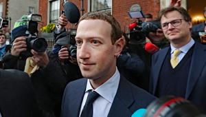 Facebook CEO Mark Zuckerberg leaving The Merrion Hotel in Dublin with head of global policy and communications Nick Clegg (Niall Carson/PA).
