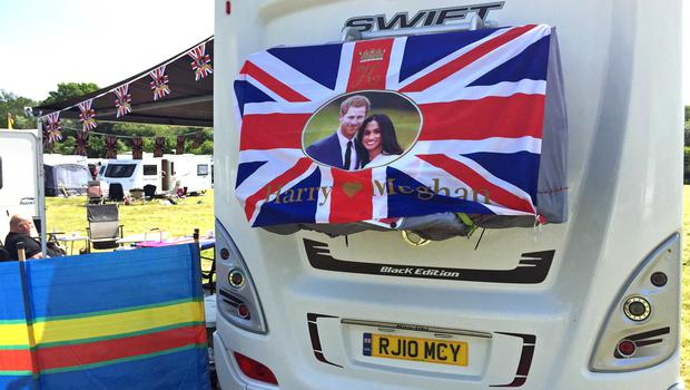 A caravan decorated with a flag and bunting at the Trent Valley DA Camping and Caravanning Club (Josh Payne/PA