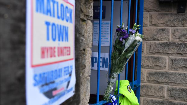 Tributes left outside the ground of Matlock Town FC (Jacob King/PA)