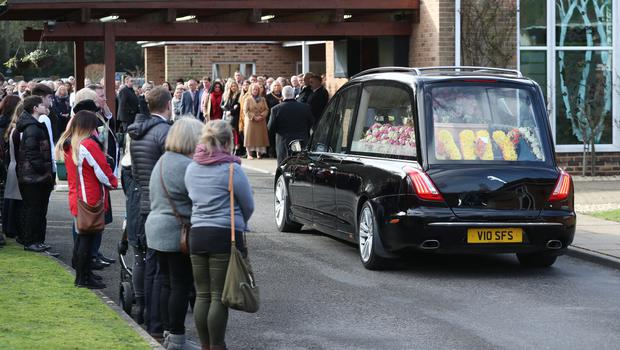 A hearse carrying the coffin of Amy Appleton arrives for her funeral (Steve Parsons/PA)