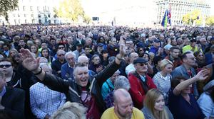 Anti-Brexit campaigners gathered in Parliament Square in October (Yui Mok/PA)