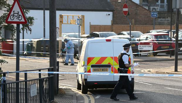 Police after two shootings at two locations near each other in Wealdstone, north-west London (Jonathan Brady/PA)