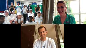 Sir Andy Murray makes a surprise appearance during the Duchess of Cambridge's virtual visit to a London school. Kensington Palace
