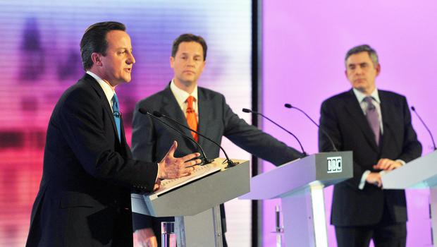 David Cameron (l to r) Nick Clegg and Gordon Brown during a 2010 debate (Jeff Overs/BBC/PA)