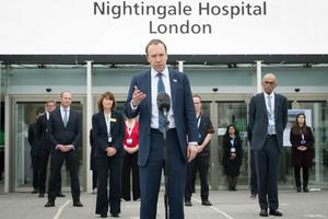 Health Secretary, Matt Hancock at the opening of the NHS Nightingale Hospital at the ExCeL in London (Stefan Rousseau/PA)