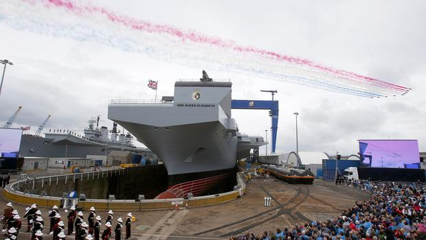 The naming ceremony for the new carrier, HMS Queen Elizabeth, in Rosyth