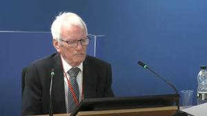 Senior fire consultant Terry Ashton giving evidence (Grenfell Tower Inquiry/PA)