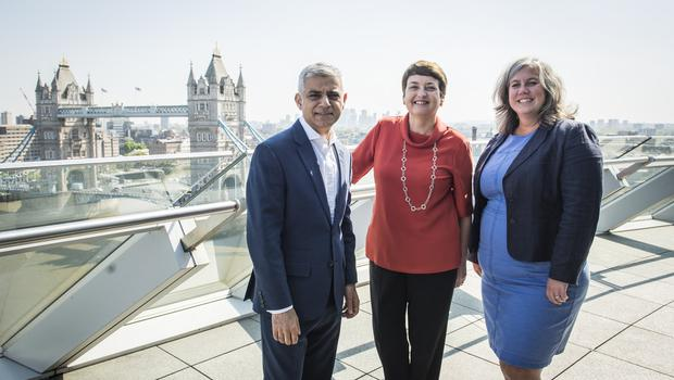Heidi Alexander with London Mayor Sadiq Khan and outgoing deputy mayor for transport Val Shawcross (Caroline Teo/Greater London Authority/PA)
