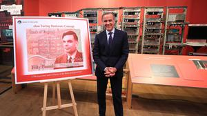 Governor of the Bank of England, Mark Carney, during the announcement that Alan Turing has been selected to feature on the next £50 note (Peter Byrne/PA)