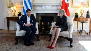 Prime Minister Theresa May holds talks with her Greek counterpart Alexis Tsipras at No 10 Downing Street (Kirsty O'Connor/PA)