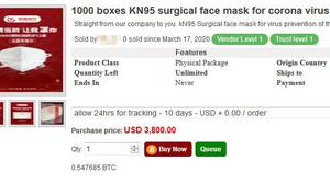 A page from a dark web site that is selling KN95 surgical face masks (Digital Shadows/PA)