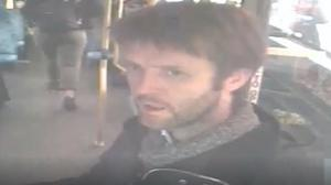 Robert Child on a bus after killing his mother (Merseyside Police/PA)